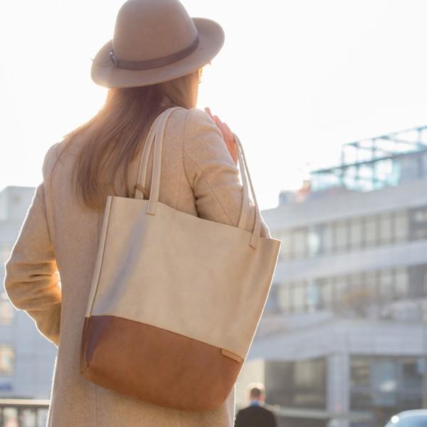 In der Stadt Shopper Handtasche Schultertasche Leder Faserstoff Beige und Braun Fair und Nachhaltig