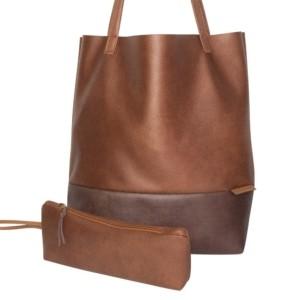 Frontansicht Shopper Handtasche Schultertasche Leder Faserstoff Braun Dunkelbraun