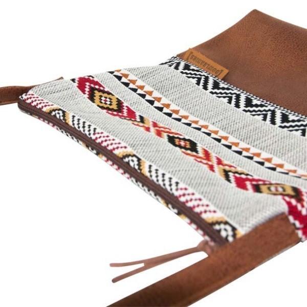 Seitenansicht Umhaengetasche-Leder-Faserstoff-Ethno Fair und Nachhaltig