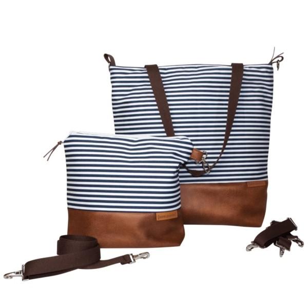 Frontansicht: Wickeltasche-Kinderwagentasche-Leder-Faserstoff-Maritim