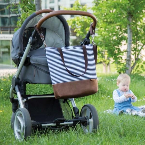 Am Kinderwagen: Wickeltasche-Kinderwagentasche-Leder-Faserstoff-Maritim
