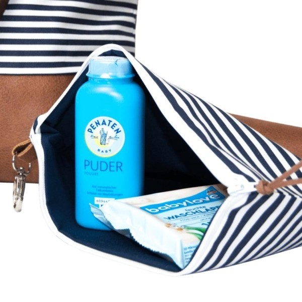 Detailansicht: Wickeltasche-Kinderwagentasche-Leder-Faserstoff-Maritim
