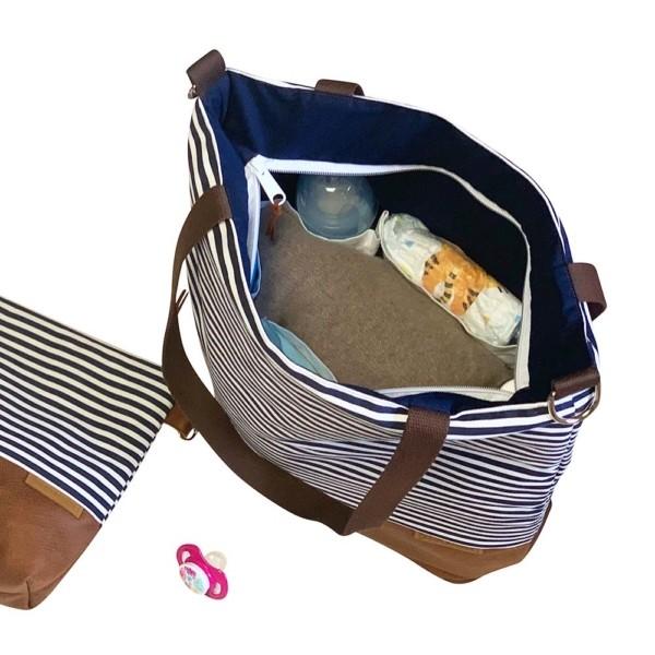 Innenansicht: Wickeltasche-Kinderwagentasche-Leder-Faserstoff-Maritim