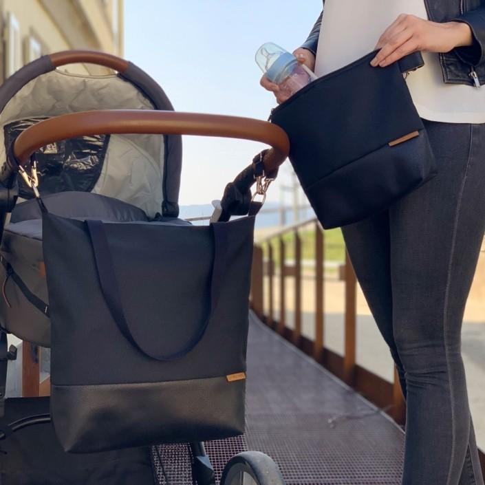 Wickeltasche Kinderwagentasche Leder Faserstoff Schwarz Braun