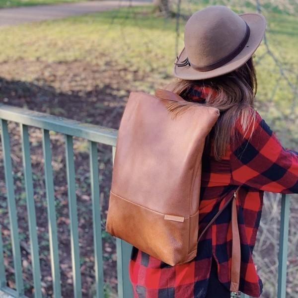 In der Natur Rucksack Backpack Leder Faserstoff Braun Fair und Nachhaltig
