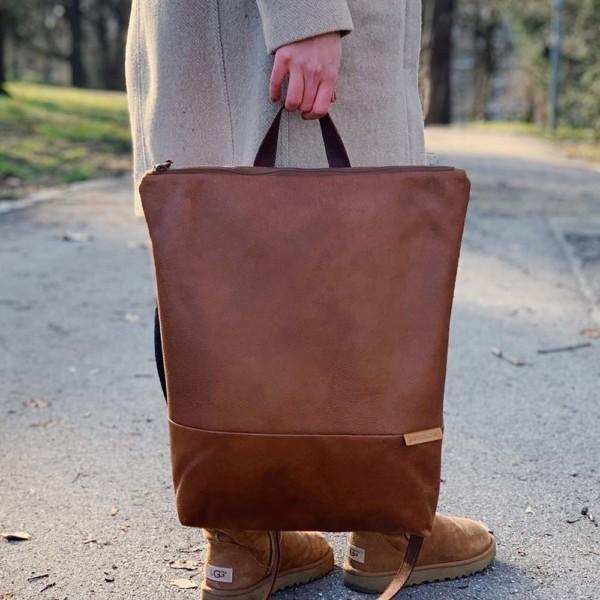 In der Hand getragen Rucksack Backpack Leder Faserstoff Braun Fair und Nachhaltig