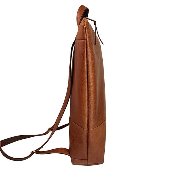 Seitenansicht Rucksack Backpack Leder Faserstoff Braun Fair und Nachhaltig