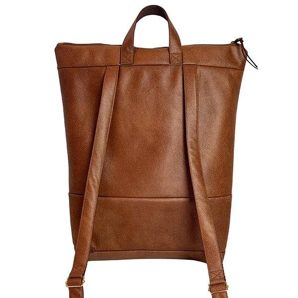 Rückenansicht Rucksack Backpack Leder Faserstoff Braun Fair und Nachhaltig