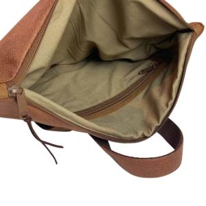 Innenansicht Rucksack Backpack Leder Faserstoff Braun Fair und Nachhaltig