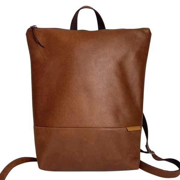 Frontansicht Rucksack Backpack Leder Faserstoff Braun Fair und Nachhaltig