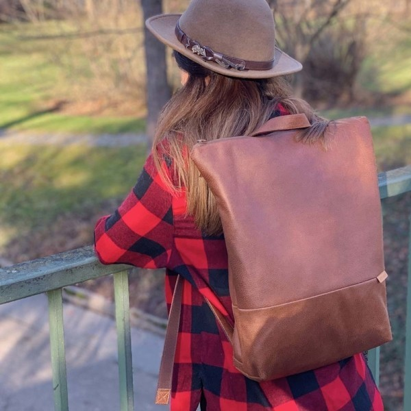 Auf einer Brücke Rucksack Backpack Leder Faserstoff Braun Fair und Nachhaltig