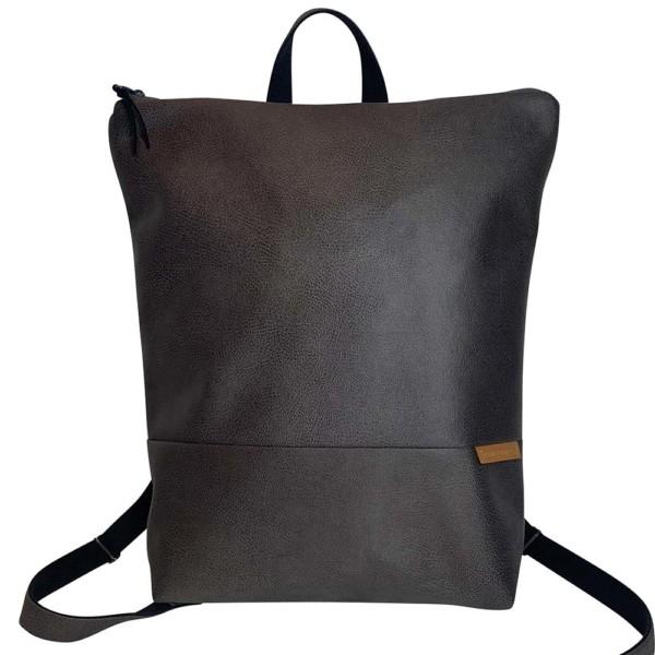 Frontalaufnahme Rucksack Backpack Leder Faserstoff Dunkelgrau Fair und Nachhaltig