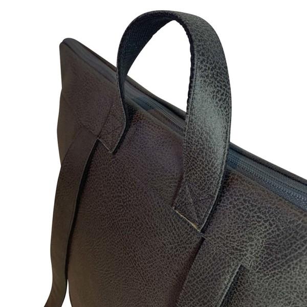 Detailansicht Rucksack Backpack Leder Faserstoff Dunkelgrau Fair und Nachhaltig