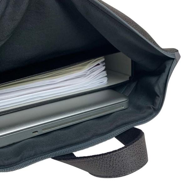 Innenansicht Rucksack Backpack Leder Faserstoff Dunkelgrau Fair und Nachhaltig