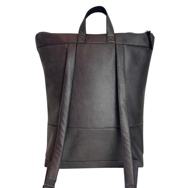 Von Hinten Rucksack Backpack Leder Faserstoff Dunkelgrau Fair und Nachhaltig