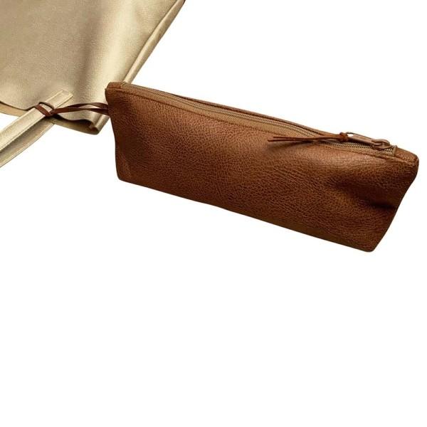 Detailaufnahme Shopper Handtasche Schultertasche Leder Faserstoff Braun Beige Nachhaltig und Fair