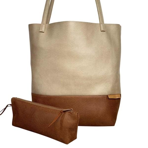 Frontaufnahme Shopper Handtasche Schultertasche Leder Faserstoff Braun Beige Nachhaltig und Fair
