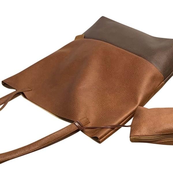 Seitenaufnahme Shopper Handtasche Schultertasche Leder Faserstoff Brauntöne Nachhaltig und Fair