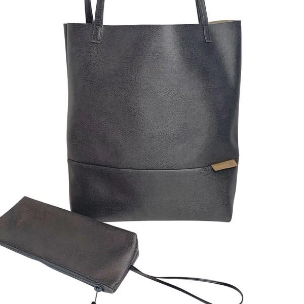 Frontaufnahme Shopper Handtasche Schultertasche Leder Faserstoff Dunkelgrau