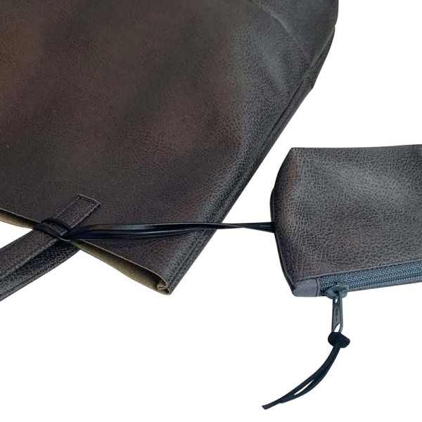 Detailaufnahme Shopper Handtasche Schultertasche Leder Faserstoff Dunkelgrau
