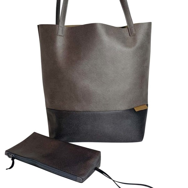 Frontaufnahme Shopper Handtasche Schultertasche Leder Faserstoff Grautöne