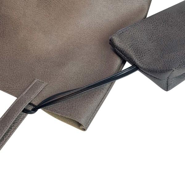 Detailansicht Shopper Handtasche Schultertasche Leder Faserstoff Grautöne
