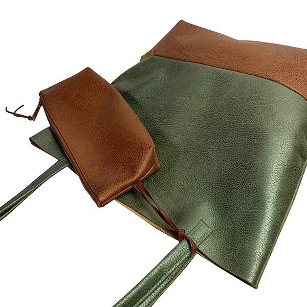 Seitenansicht Shopper Handtasche Schultertasche Leder Faserstoff Olivegrün Braun Fair und Nachhaltig