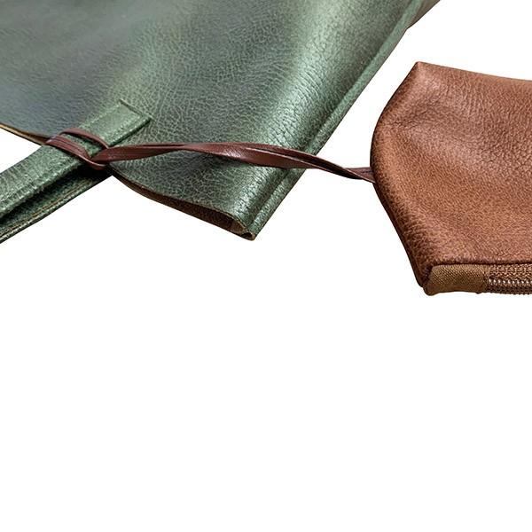 Detailansicht Shopper Handtasche Schultertasche Leder Faserstoff Olivegrün Braun Fair und Nachhaltig