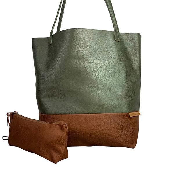 Frontaufnahme Shopper Handtasche Schultertasche Leder Faserstoff Olivegrün Braun Fair und Nachhaltig