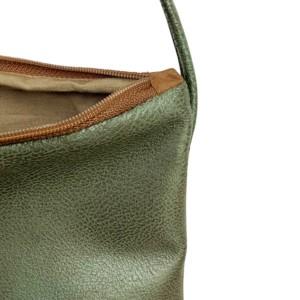 Innenansicht Umhaengetasche Leder Faserstoff Olivgrün Braun Fair und Nachhaltig