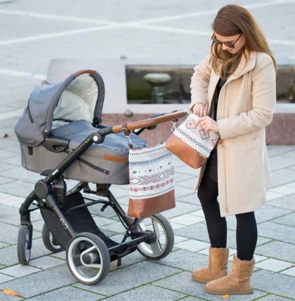 In Aktion Wickeltasche Kinderwagentasche Leder Faserstoff Ethno Nachhaltig und Fair