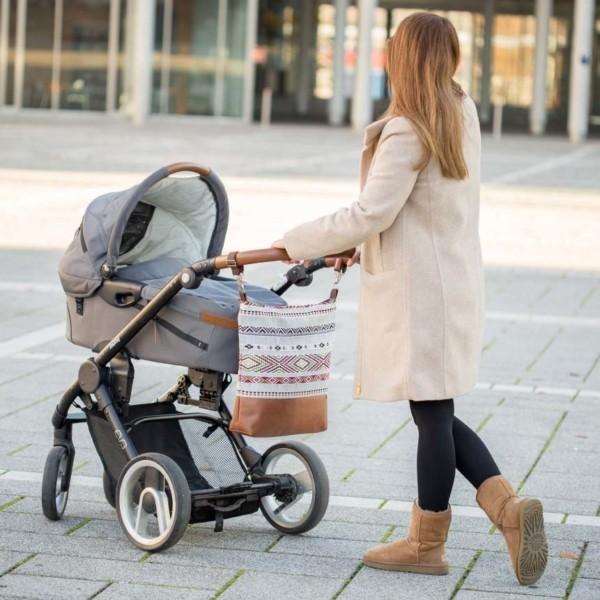 Am Kinderwagen Wickeltasche Kinderwagentasche Leder Faserstoff Ethno Nachhaltig und Fair