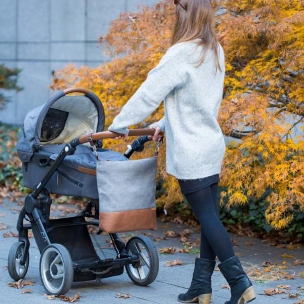 Am Kinderwagen Wickeltasche Kinderwagentasche Leder Faserstoff Grau Nachhaltig und Fair
