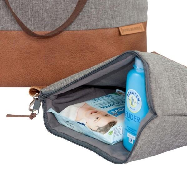 Windeltasche Innenansicht: Wickeltasche Kinderwagentasche Leder Faserstoff Grau Nachhaltig und Fair