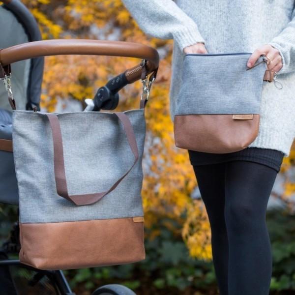 In Aktion mit separater Windeltasche Wickeltasche Kinderwagentasche Leder Faserstoff Grau Nachhaltig und Fair