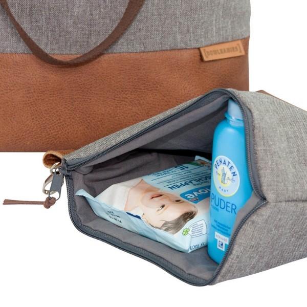 Nahaufnahme Wickeltasche Kinderwagentasche Leder Faserstoff Grau Nachhaltig und Fair