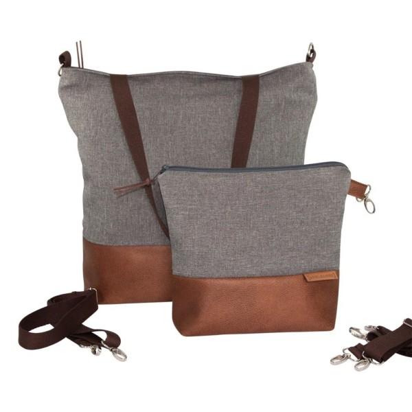 Frontansicht Wickeltasche Kinderwagentasche Leder Faserstoff Grau Nachhaltig und Fair