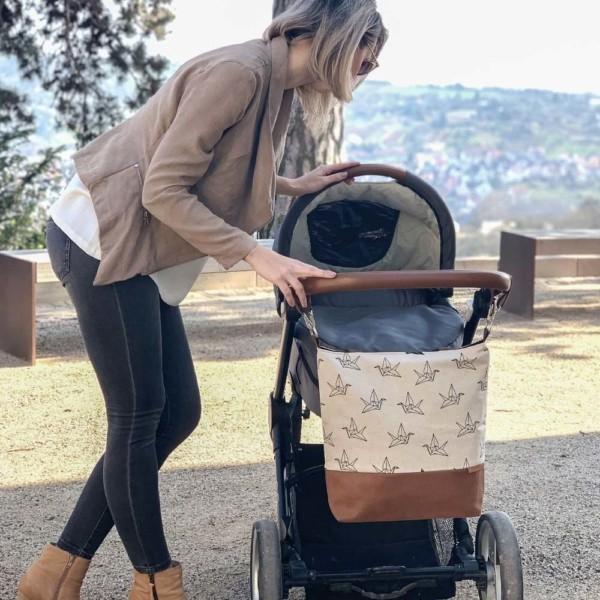 Mit Landschaftsblick Schlüsselring Wickeltasche Kinderwagentasche Leder Faserstoff Kranich Nachhaltig und Fair