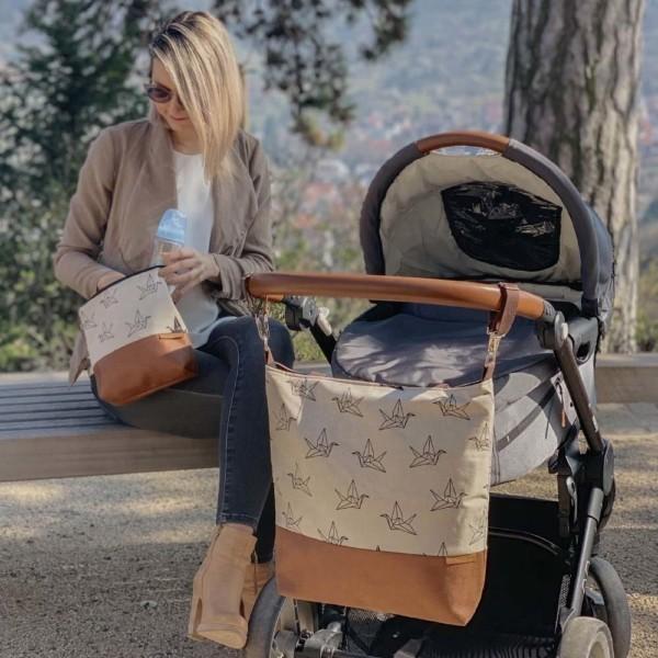 In Aktion Schlüsselring Wickeltasche Kinderwagentasche Leder Faserstoff Kranich Nachhaltig und Fair