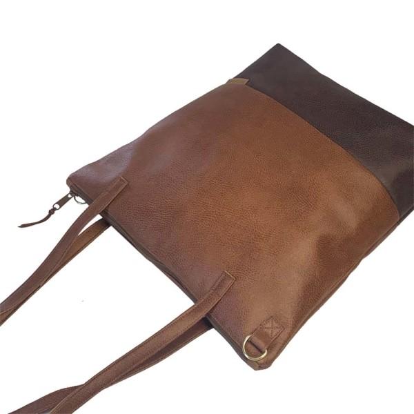 Seitenansicht Shopper Handtasche Schultertasche Leder Faserstoff Brauntöne mit Reißverschluss