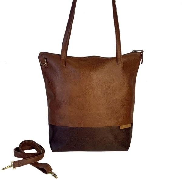 Frontalansicht Shopper Handtasche Schultertasche Leder Faserstoff Brauntöne mit Reißverschluss