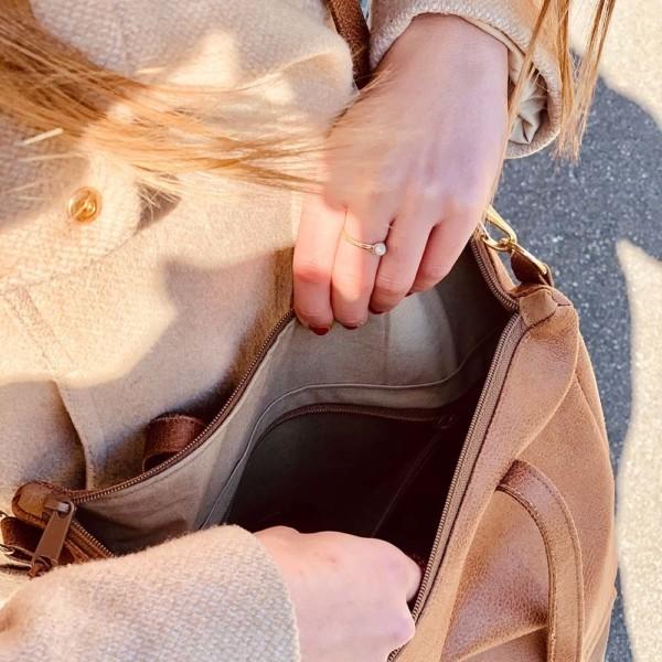 Innenansicht Shopper Umhängetasche Schultertasche Leder Faserstoff Brauntöne mit Reißverschluss