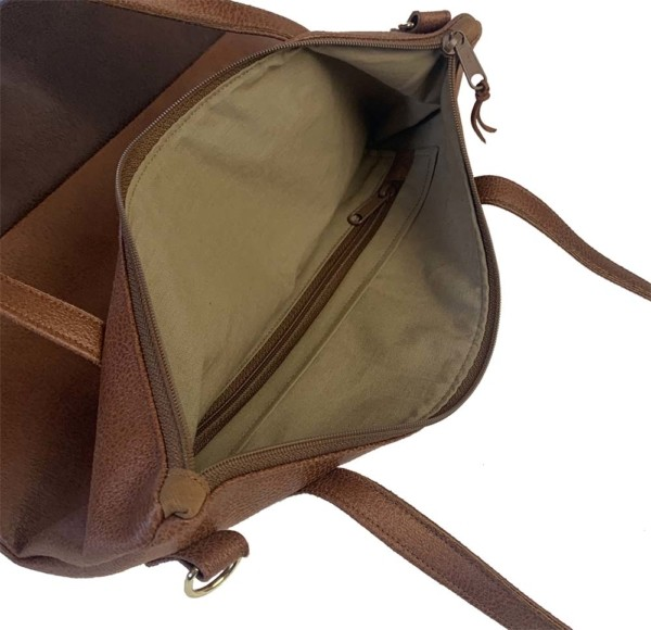 Innenansicht Shopper Handtasche Schultertasche Leder Faserstoff Brauntöne mit Reißverschluss |Fair und Nachhaltig