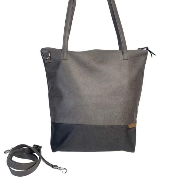 Frontalansicht Shopper Handtasche Schultertasche Leder Faserstoff Grautöne mit Reißverschluss |Fair und Nachhaltig