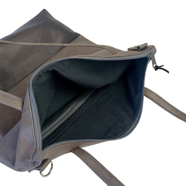 Innenansicht Shopper Handtasche Schultertasche Leder Faserstoff Grautöne mit Reißverschluss |Fair und Nachhaltig