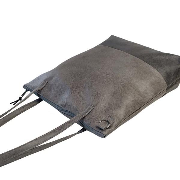 Seitenansicht Shopper Handtasche Schultertasche Leder Faserstoff Grautöne mit Reißverschluss |Fair und Nachhaltig