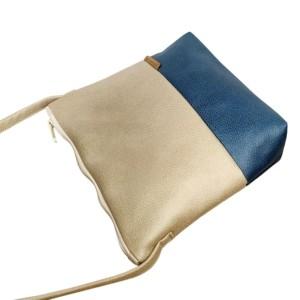 Umhängetasche Beige und Blau aus Leder Faserstoff Ansicht von oben
