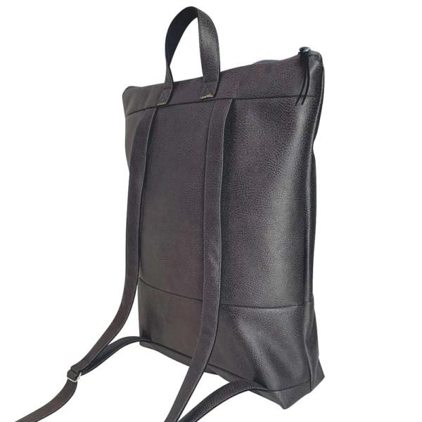 Nachhaltiger Rucksack Dunkelgrau Rücken