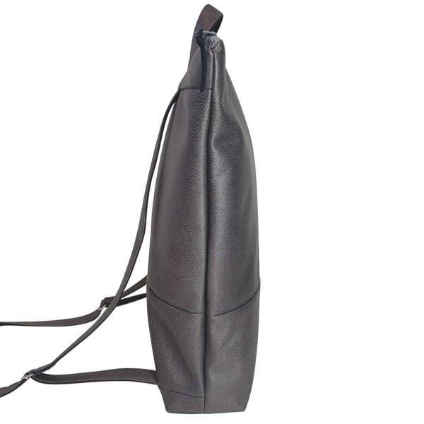 Nachhaltiger Rucksack Dunkelgrau seitlich