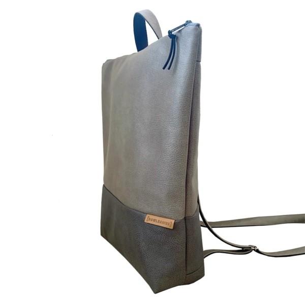 Nachhaltiger Rucksack Grautöne Seitenansicht